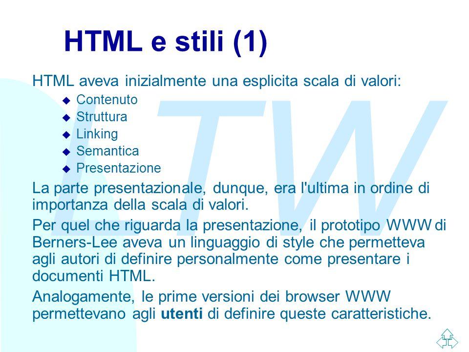 LTW HTML e stili (1) HTML aveva inizialmente una esplicita scala di valori: u Contenuto u Struttura u Linking u Semantica u Presentazione La parte pre