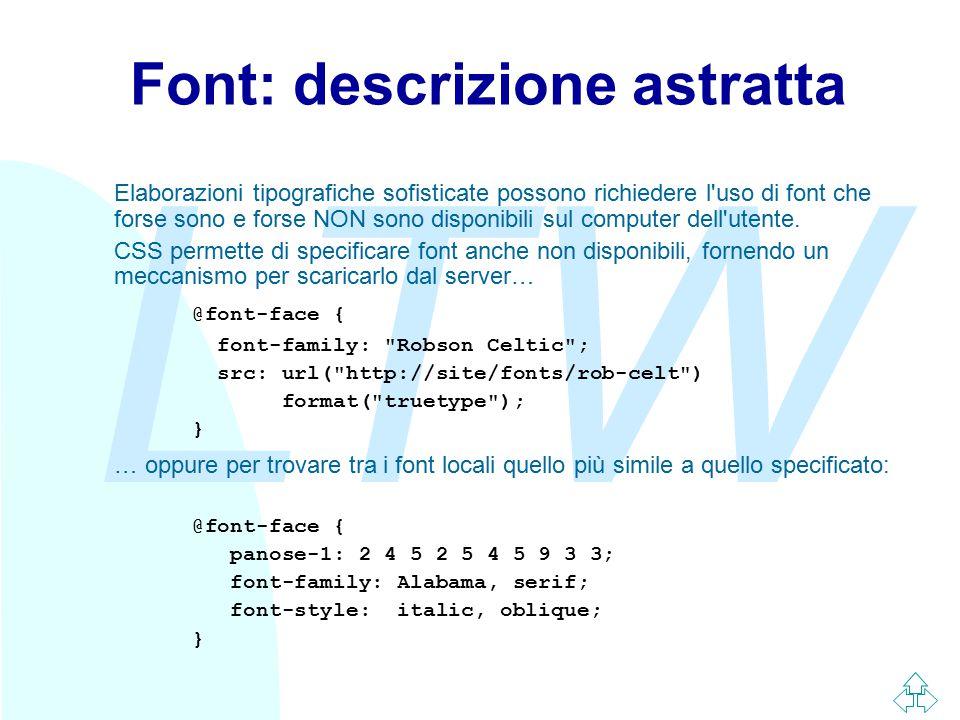LTW Font: descrizione astratta Elaborazioni tipografiche sofisticate possono richiedere l'uso di font che forse sono e forse NON sono disponibili sul