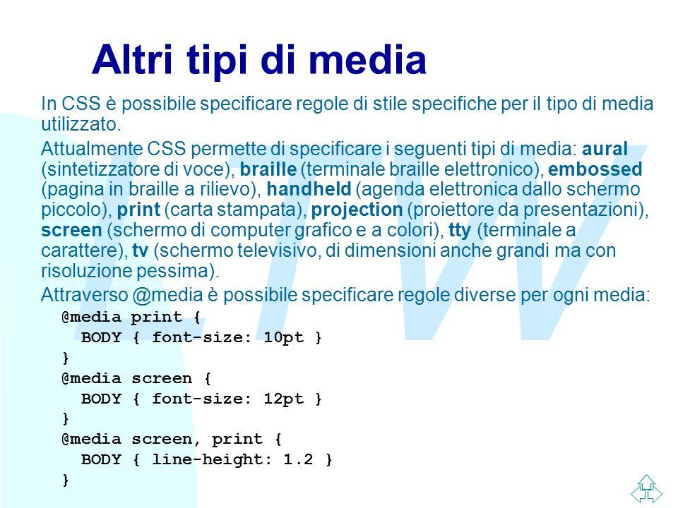 LTW Altri tipi di media In CSS è possibile specificare regole di stile specifiche per il tipo di media utilizzato. Attualmente CSS permette di specifi