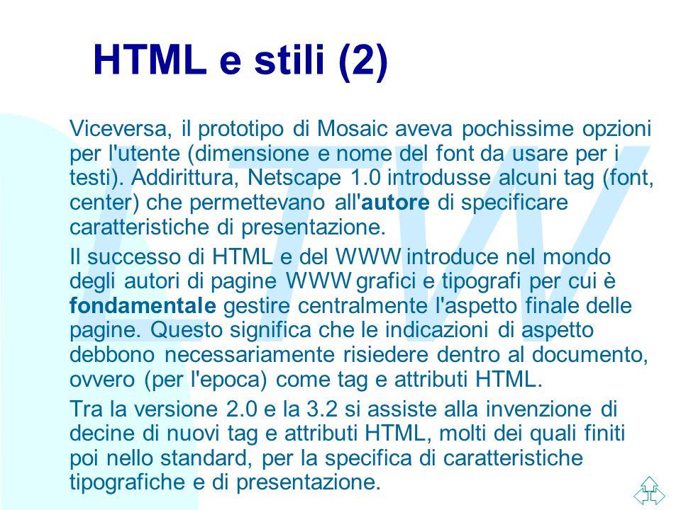 LTW HTML e stili (2) Viceversa, il prototipo di Mosaic aveva pochissime opzioni per l'utente (dimensione e nome del font da usare per i testi). Addiri