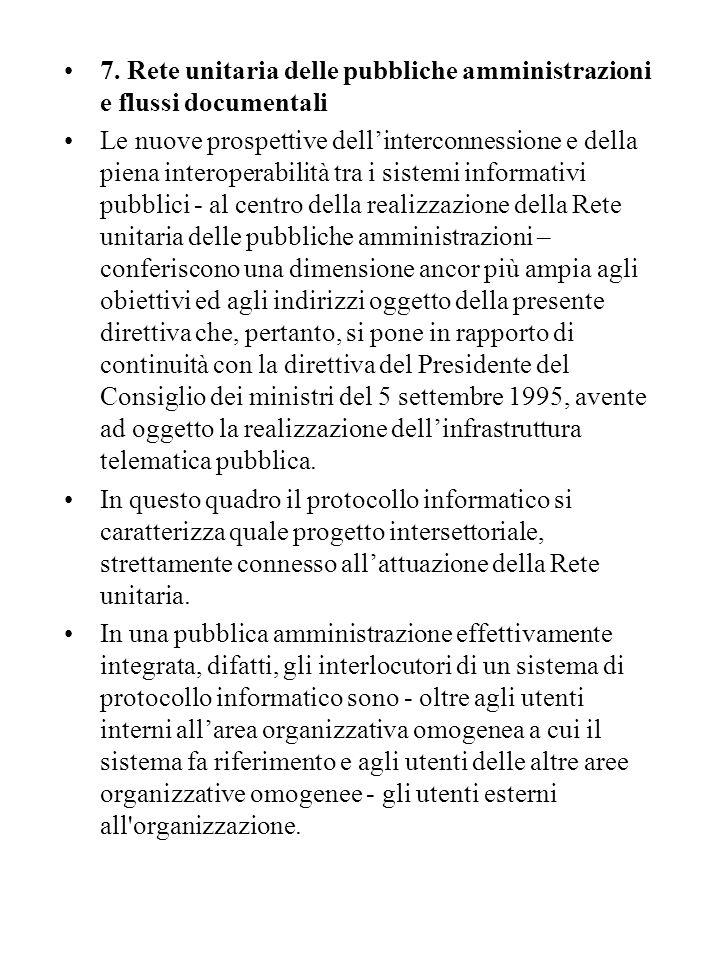 7. Rete unitaria delle pubbliche amministrazioni e flussi documentali Le nuove prospettive dell'interconnessione e della piena interoperabilità tra i