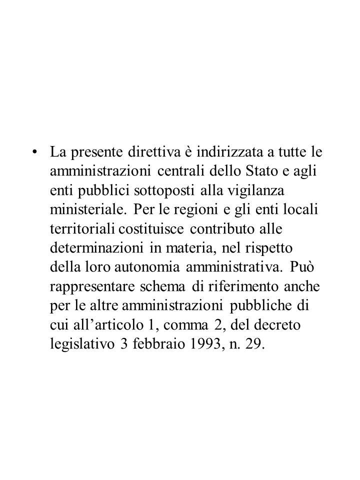 La presente direttiva è indirizzata a tutte le amministrazioni centrali dello Stato e agli enti pubblici sottoposti alla vigilanza ministeriale. Per l