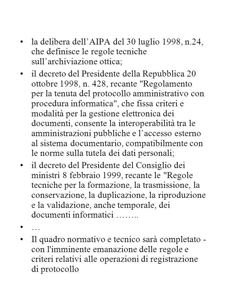 la delibera dell'AIPA del 30 luglio 1998, n.24, che definisce le regole tecniche sull'archiviazione ottica; il decreto del Presidente della Repubblica