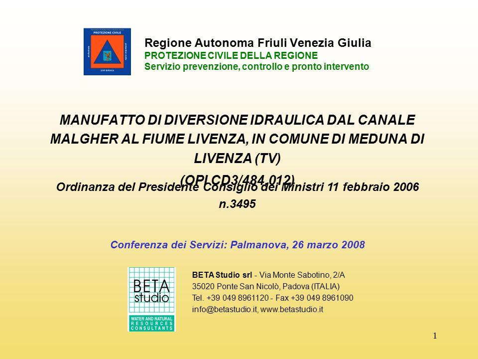 1 Regione Autonoma Friuli Venezia Giulia PROTEZIONE CIVILE DELLA REGIONE Servizio prevenzione, controllo e pronto intervento MANUFATTO DI DIVERSIONE I