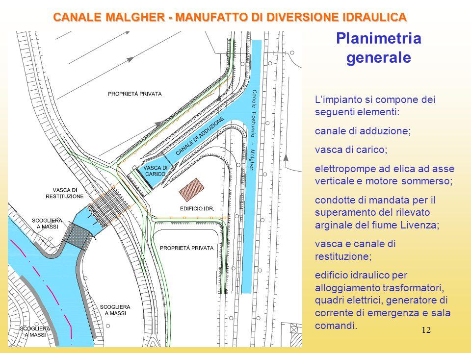 12 CANALE MALGHER - MANUFATTO DI DIVERSIONE IDRAULICA Planimetria generale L'impianto si compone dei seguenti elementi: canale di adduzione; vasca di