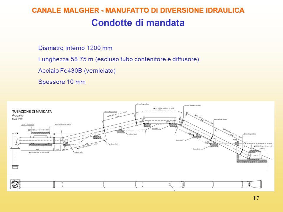 17 CANALE MALGHER - MANUFATTO DI DIVERSIONE IDRAULICA Condotte di mandata Diametro interno 1200 mm Lunghezza 58.75 m (escluso tubo contenitore e diffu