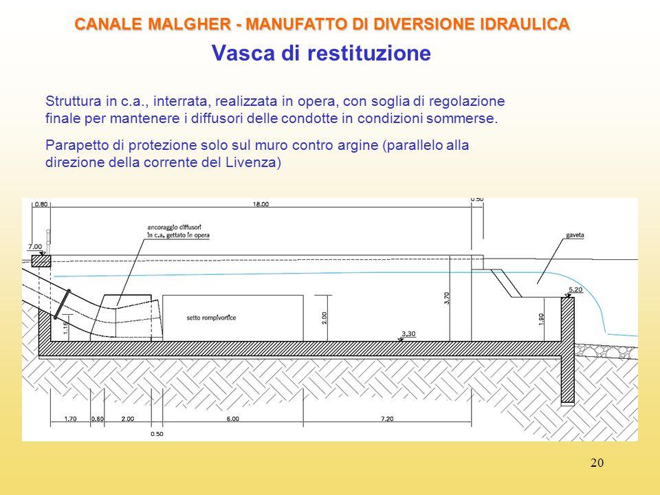 20 CANALE MALGHER - MANUFATTO DI DIVERSIONE IDRAULICA Vasca di restituzione Struttura in c.a., interrata, realizzata in opera, con soglia di regolazio