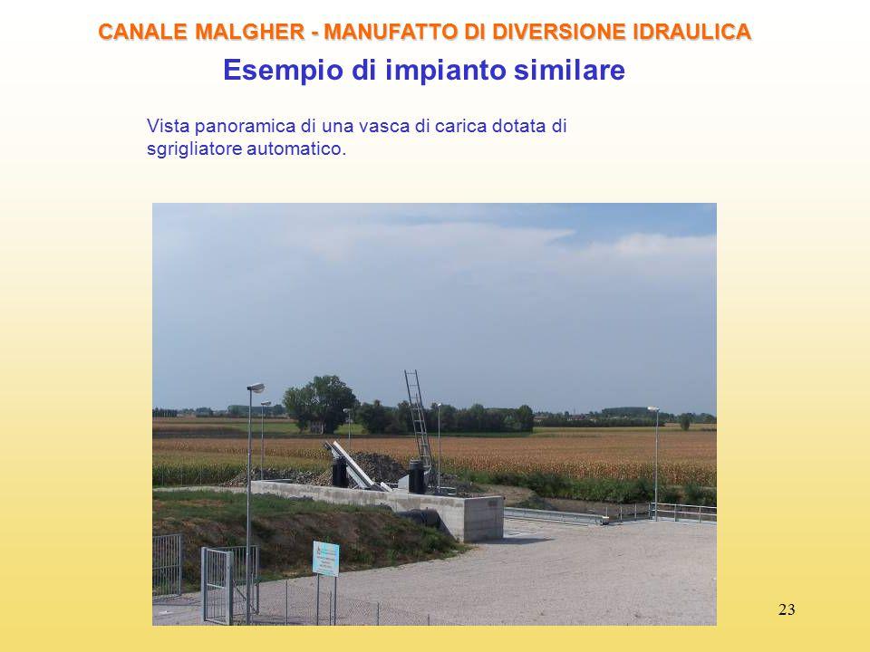23 CANALE MALGHER - MANUFATTO DI DIVERSIONE IDRAULICA Esempio di impianto similare Vista panoramica di una vasca di carica dotata di sgrigliatore auto