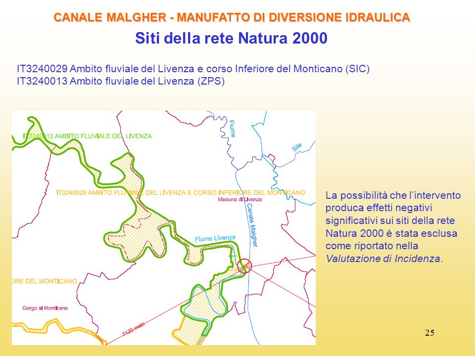 25 CANALE MALGHER - MANUFATTO DI DIVERSIONE IDRAULICA Siti della rete Natura 2000 IT3240029 Ambito fluviale del Livenza e corso Inferiore del Montican