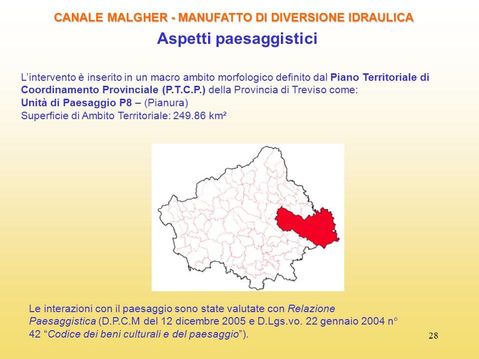 28 CANALE MALGHER - MANUFATTO DI DIVERSIONE IDRAULICA Aspetti paesaggistici L'intervento è inserito in un macro ambito morfologico definito dal Piano