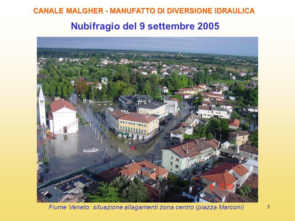 3 Nubifragio del 9 settembre 2005 CANALE MALGHER - MANUFATTO DI DIVERSIONE IDRAULICA Fiume Veneto: situazione allagamenti zona centro (piazza Marconi)