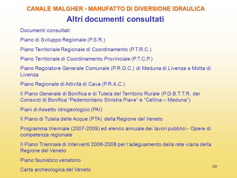 30 CANALE MALGHER - MANUFATTO DI DIVERSIONE IDRAULICA Altri documenti consultati Documenti consultati: Piano di Sviluppo Regionale (P.S.R.) Piano Terr