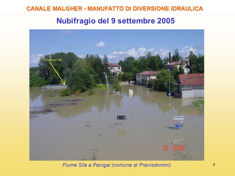 4 Nubifragio del 9 settembre 2005 CANALE MALGHER - MANUFATTO DI DIVERSIONE IDRAULICA Fiume Sile a Panigai (comune di Pravisdomini)