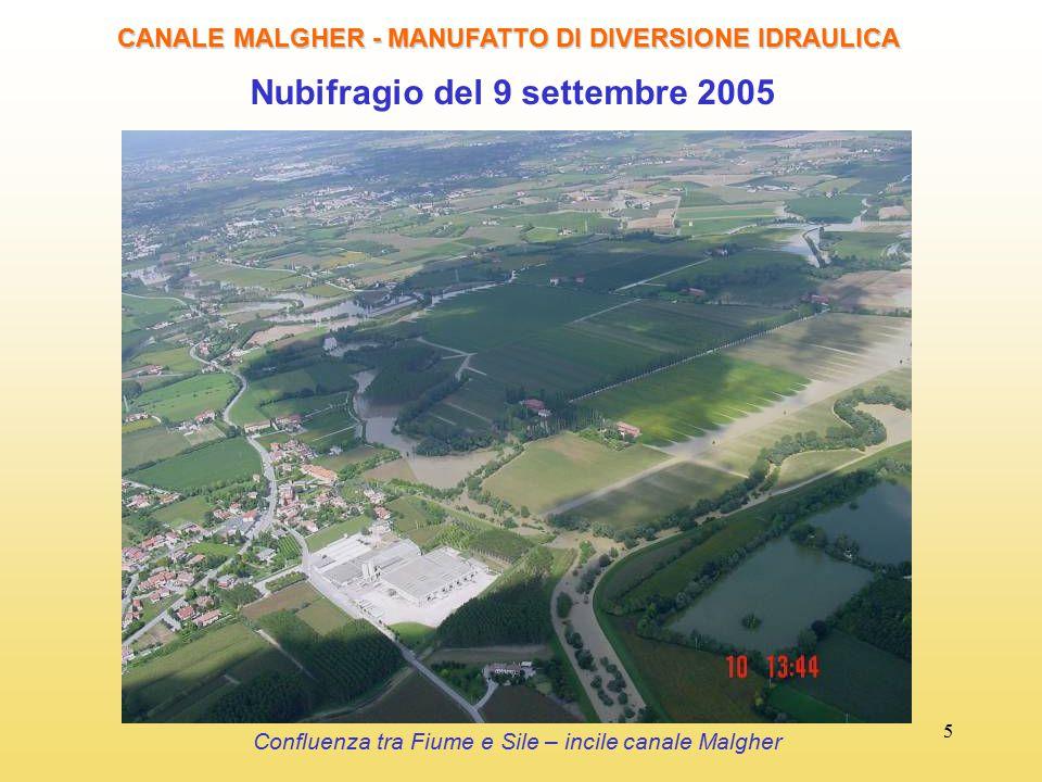 5 Nubifragio del 9 settembre 2005 CANALE MALGHER - MANUFATTO DI DIVERSIONE IDRAULICA Confluenza tra Fiume e Sile – incile canale Malgher