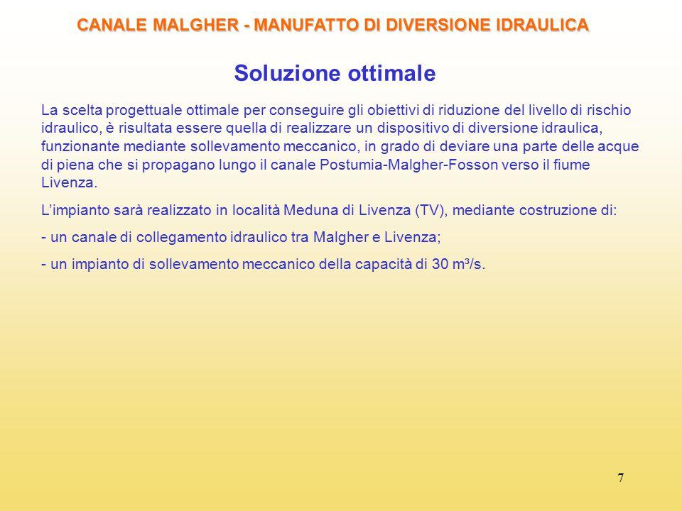 7 Soluzione ottimale CANALE MALGHER - MANUFATTO DI DIVERSIONE IDRAULICA La scelta progettuale ottimale per conseguire gli obiettivi di riduzione del l