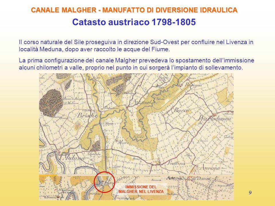 9 CANALE MALGHER - MANUFATTO DI DIVERSIONE IDRAULICA Catasto austriaco 1798-1805 Il corso naturale del Sile proseguiva in direzione Sud-Ovest per conf