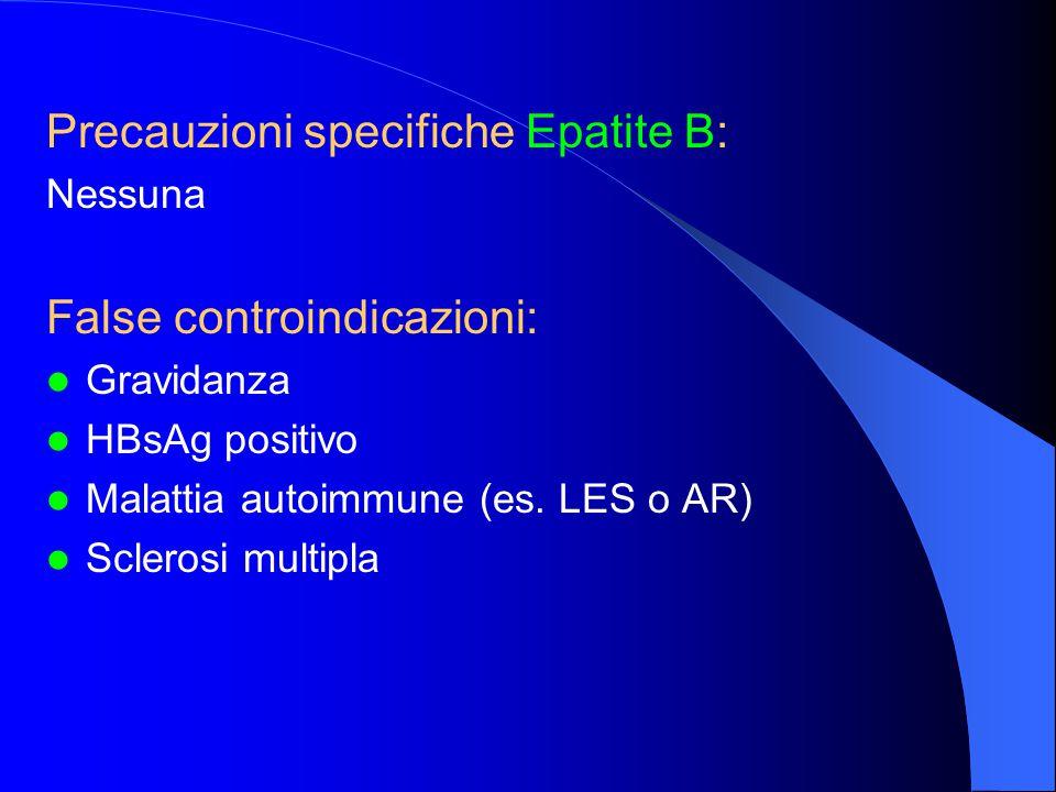 Precauzioni specifiche Epatite B: Nessuna False controindicazioni: Gravidanza HBsAg positivo Malattia autoimmune (es. LES o AR) Sclerosi multipla