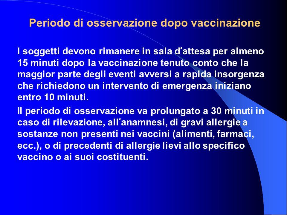 Periodo di osservazione dopo vaccinazione I soggetti devono rimanere in sala d ' attesa per almeno 15 minuti dopo la vaccinazione tenuto conto che la