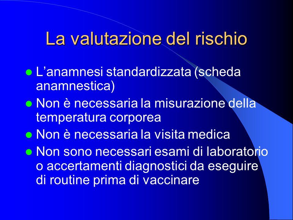 La valutazione del rischio L'anamnesi standardizzata (scheda anamnestica) Non è necessaria la misurazione della temperatura corporea Non è necessaria la visita medica Non sono necessari esami di laboratorio o accertamenti diagnostici da eseguire di routine prima di vaccinare