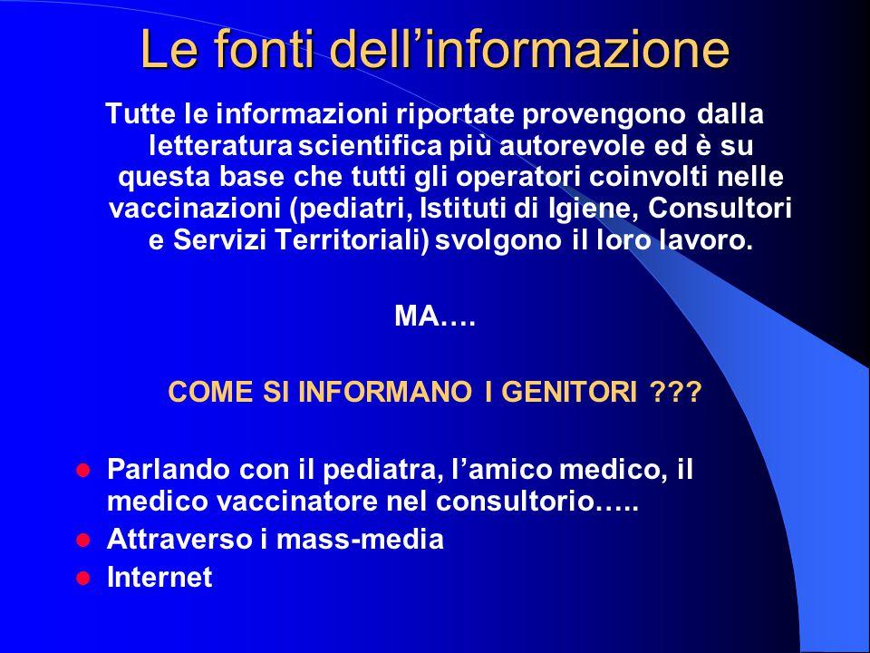 Le fonti dell'informazione Tutte le informazioni riportate provengono dalla letteratura scientifica più autorevole ed è su questa base che tutti gli operatori coinvolti nelle vaccinazioni (pediatri, Istituti di Igiene, Consultori e Servizi Territoriali) svolgono il loro lavoro.