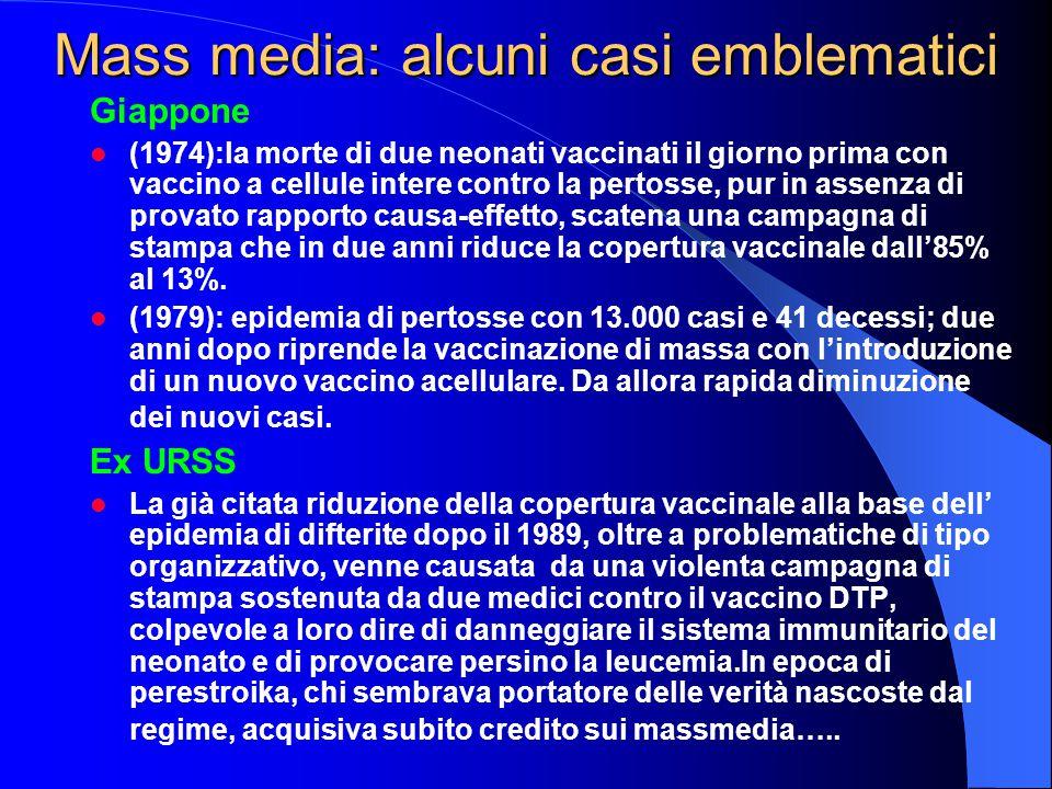 Mass media: alcuni casi emblematici Giappone (1974):la morte di due neonati vaccinati il giorno prima con vaccino a cellule intere contro la pertosse, pur in assenza di provato rapporto causa-effetto, scatena una campagna di stampa che in due anni riduce la copertura vaccinale dall'85% al 13%.