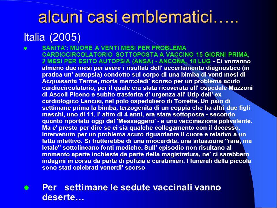 Italia (2005) SANITA : MUORE A VENTI MESI PER PROBLEMA CARDIOCIRCOLATORIO SOTTOPOSTA A VACCINO 15 GIORNI PRIMA, 2 MESI PER ESITO AUTOPSIA (ANSA) - ANCONA, 18 LUG - Ci vorranno almeno due mesi per avere i risultati dell accertamento diagnostico (in pratica un autopsia) condotto sul corpo di una bimba di venti mesi di Acquasanta Terme, morta mercoledi scorso per un problema acuto cardiocircolatorio, per il quale era stata ricoverata all ospedale Mazzoni di Ascoli Piceno e subito trasferita d urgenza all Utip dell ex cardiologico Lancisi, nel polo ospedaliero di Torrette.
