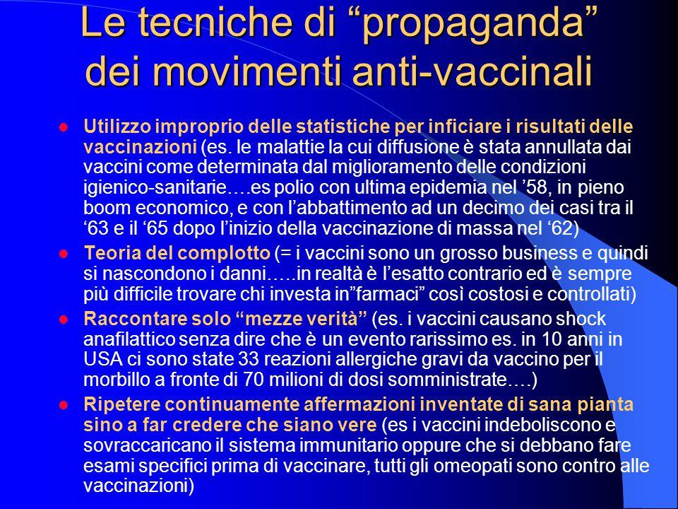 Le tecniche di propaganda dei movimenti anti-vaccinali Utilizzo improprio delle statistiche per inficiare i risultati delle vaccinazioni (es.