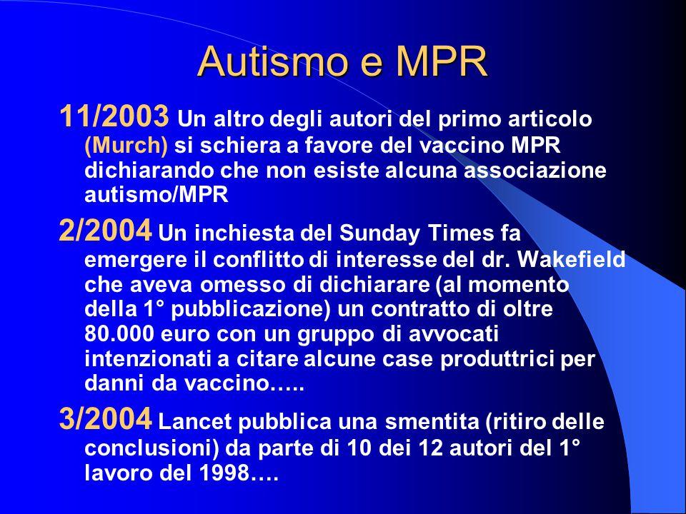 Autismo e MPR 11/2003 Un altro degli autori del primo articolo (Murch) si schiera a favore del vaccino MPR dichiarando che non esiste alcuna associazione autismo/MPR 2/2004 Un inchiesta del Sunday Times fa emergere il conflitto di interesse del dr.