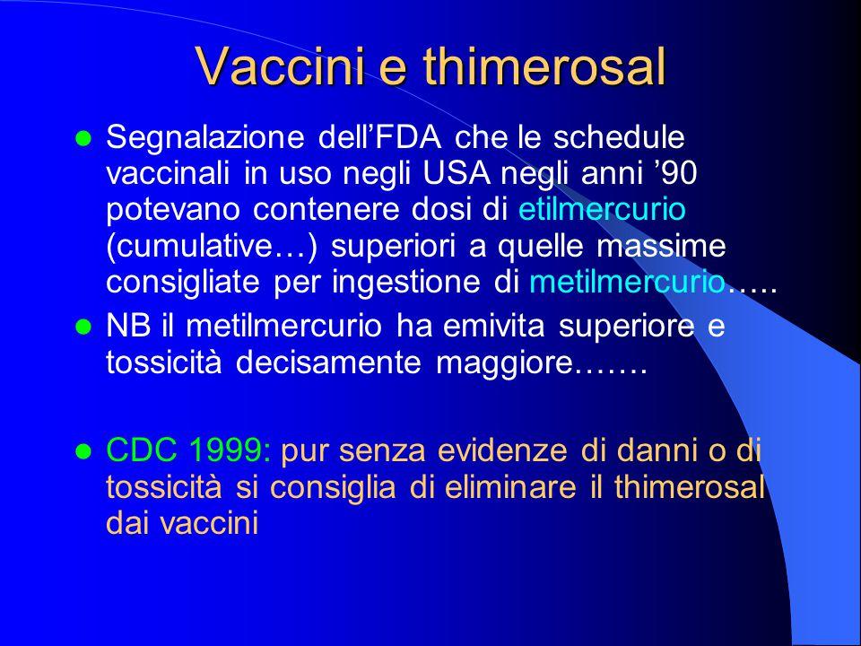 Vaccini e thimerosal Segnalazione dell'FDA che le schedule vaccinali in uso negli USA negli anni '90 potevano contenere dosi di etilmercurio (cumulative…) superiori a quelle massime consigliate per ingestione di metilmercurio…..