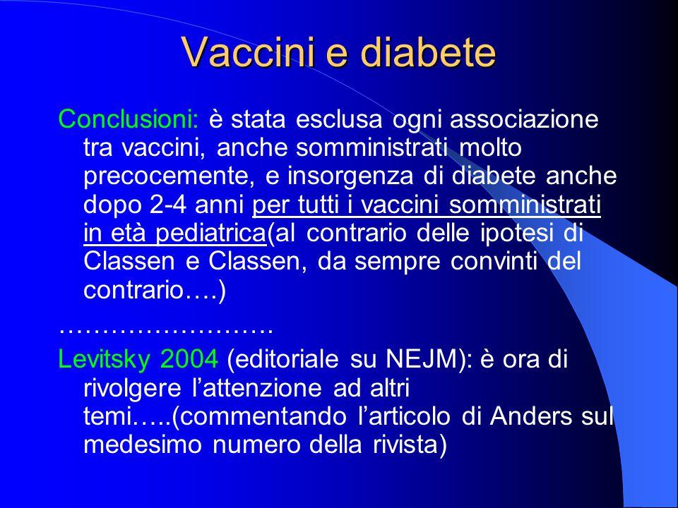 Vaccini e diabete Conclusioni: è stata esclusa ogni associazione tra vaccini, anche somministrati molto precocemente, e insorgenza di diabete anche do