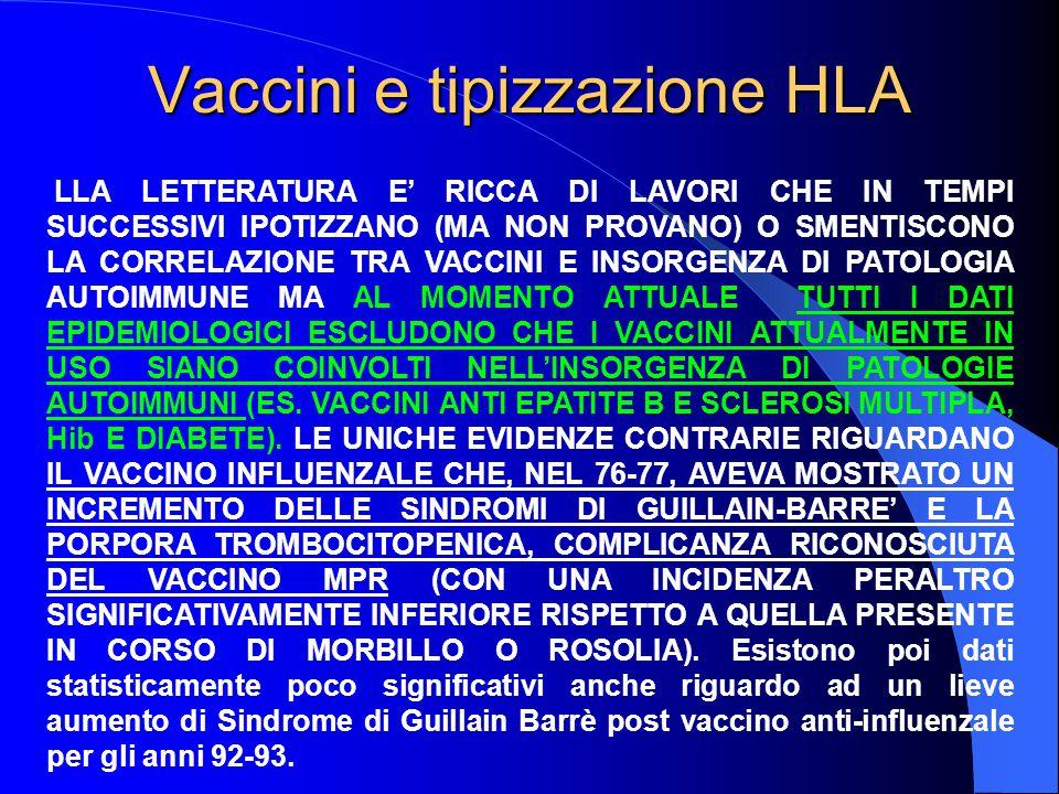 Vaccini e tipizzazione HLA LLA LETTERATURA E' RICCA DI LAVORI CHE IN TEMPI SUCCESSIVI IPOTIZZANO (MA NON PROVANO) O SMENTISCONO LA CORRELAZIONE TRA VACCINI E INSORGENZA DI PATOLOGIA AUTOIMMUNE MA AL MOMENTO ATTUALE TUTTI I DATI EPIDEMIOLOGICI ESCLUDONO CHE I VACCINI ATTUALMENTE IN USO SIANO COINVOLTI NELL'INSORGENZA DI PATOLOGIE AUTOIMMUNI (ES.