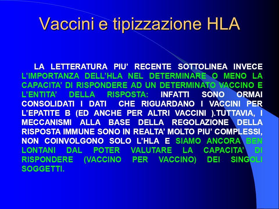 Vaccini e tipizzazione HLA LA LETTERATURA PIU' RECENTE SOTTOLINEA INVECE L'IMPORTANZA DELL'HLA NEL DETERMINARE O MENO LA CAPACITA' DI RISPONDERE AD UN