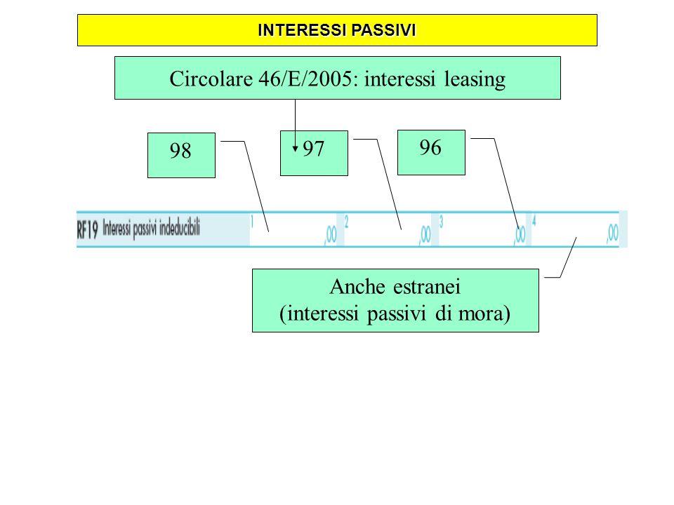 98 97 96 Anche estranei (interessi passivi di mora) Circolare 46/E/2005: interessi leasing INTERESSI PASSIVI