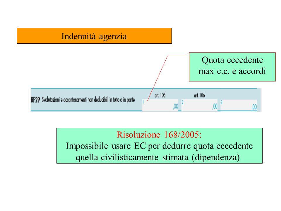 Indennità agenzia Quota eccedente max c.c. e accordi Risoluzione 168/2005: Impossibile usare EC per dedurre quota eccedente quella civilisticamente st