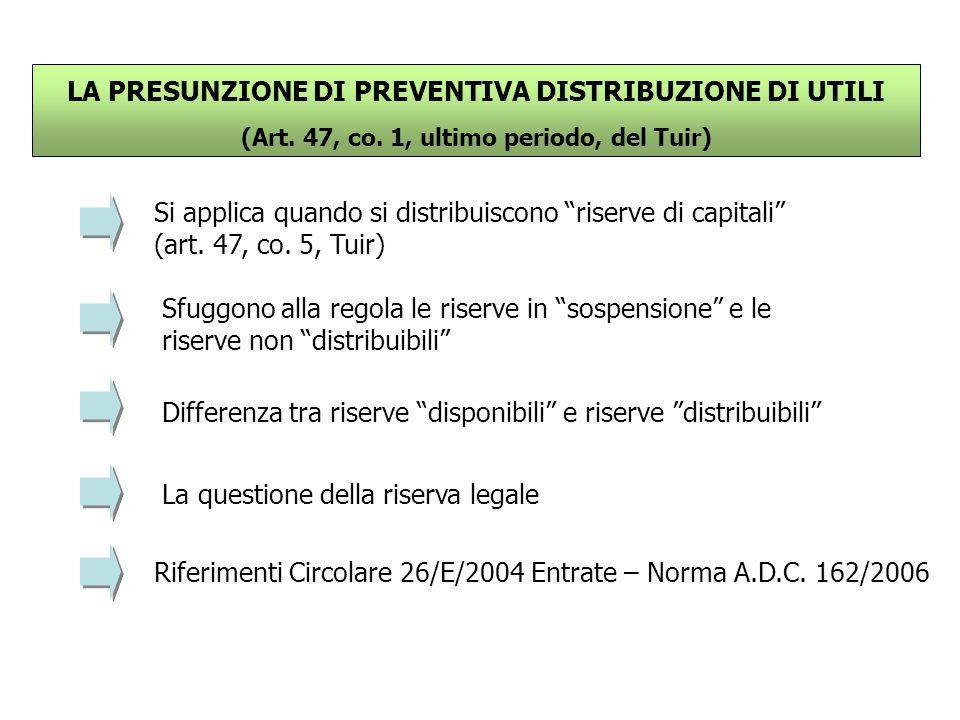 """LA PRESUNZIONE DI PREVENTIVA DISTRIBUZIONE DI UTILI (Art. 47, co. 1, ultimo periodo, del Tuir) Si applica quando si distribuiscono """"riserve di capital"""