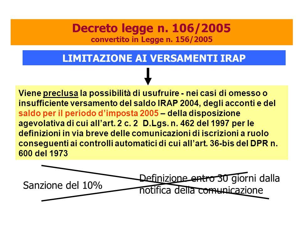 Viene preclusa la possibilità di usufruire - nei casi di omesso o insufficiente versamento del saldo IRAP 2004, degli acconti e del saldo per il periodo d'imposta 2005 – della disposizione agevolativa di cui all'art.