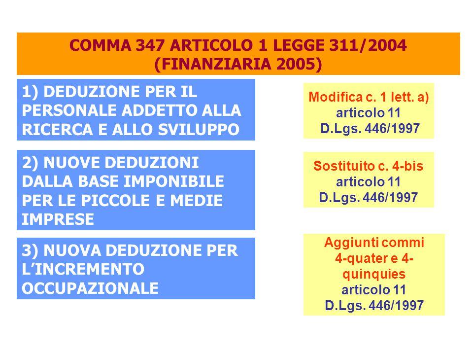 COMMA 347 ARTICOLO 1 LEGGE 311/2004 (FINANZIARIA 2005) 1) DEDUZIONE PER IL PERSONALE ADDETTO ALLA RICERCA E ALLO SVILUPPO 2) NUOVE DEDUZIONI DALLA BASE IMPONIBILE PER LE PICCOLE E MEDIE IMPRESE 3) NUOVA DEDUZIONE PER L'INCREMENTO OCCUPAZIONALE Modifica c.