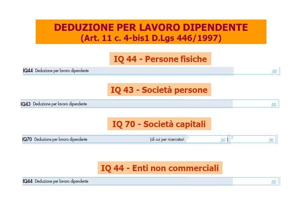 DEDUZIONE PER LAVORO DIPENDENTE (Art.11 c.