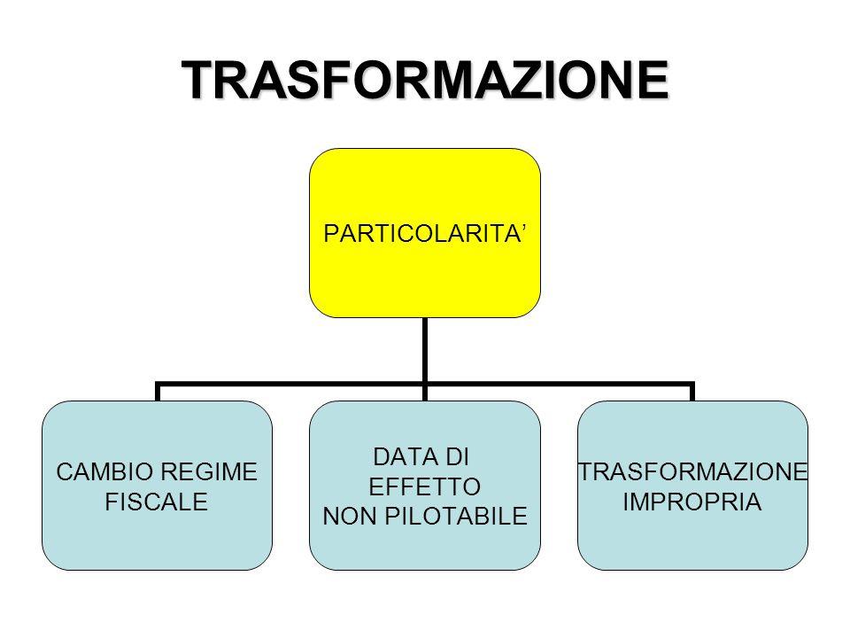 TRASFORMAZIONE PARTICOLARITA' CAMBIO REGIME FISCALE DATA DI EFFETTO NON PILOTABILE TRASFORMAZIONE IMPROPRIA