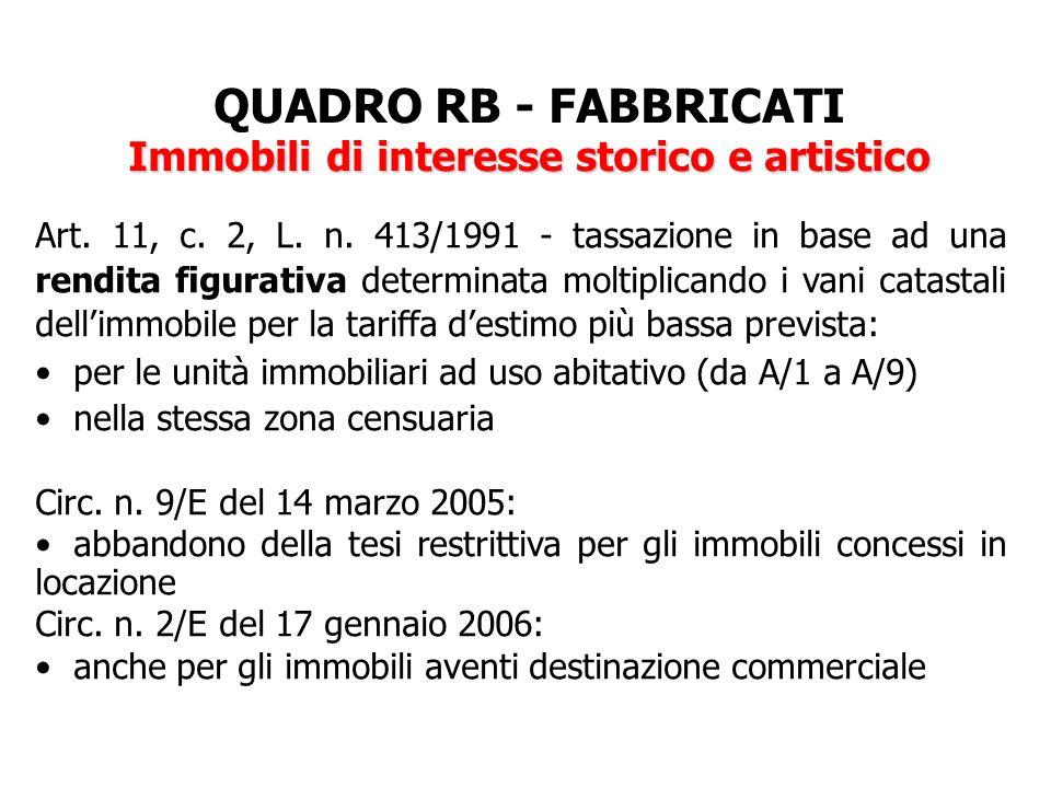 QUADRO RB - FABBRICATI Immobili di interesse storico e artistico Art. 11, c. 2, L. n. 413/1991 - tassazione in base ad una rendita figurativa determin