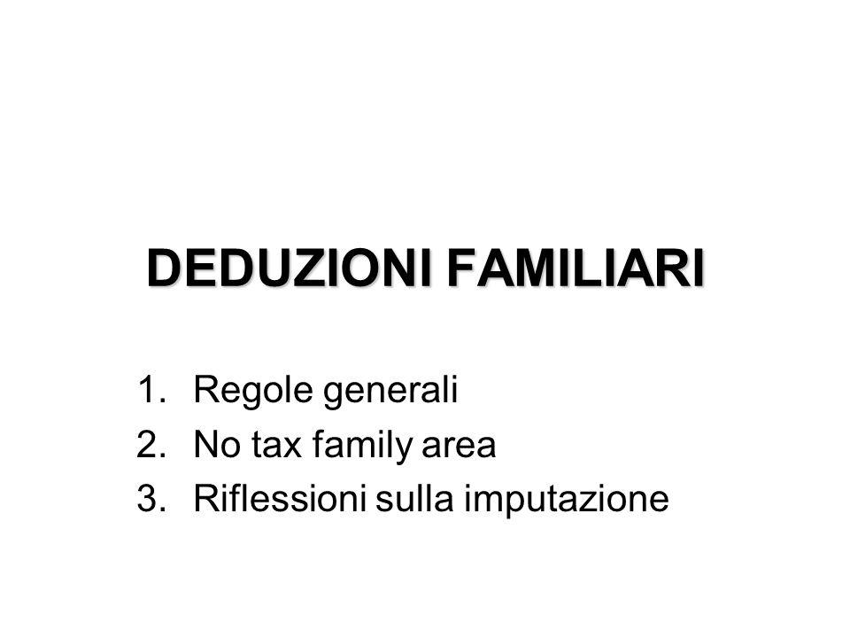 DEDUZIONI FAMILIARI 1.Regole generali 2.No tax family area 3.Riflessioni sulla imputazione