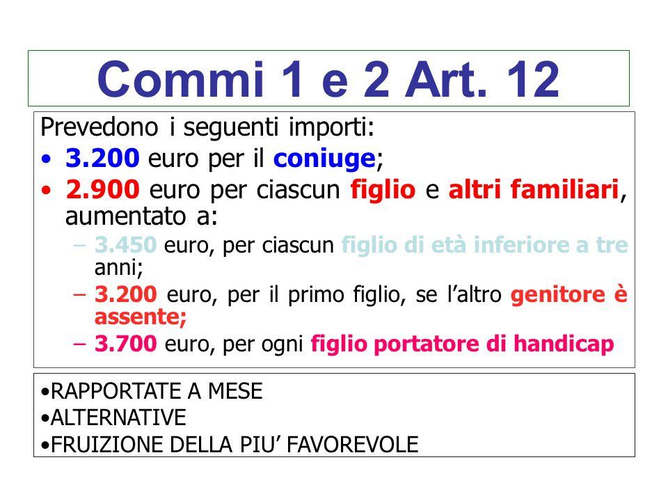 Commi 1 e 2 Art. 12 Prevedono i seguenti importi: 3.200 euro per il coniuge; 2.900 euro per ciascun figlio e altri familiari, aumentato a: –3.450 euro