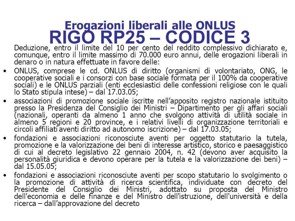 Erogazioni liberali alle ONLUS RIGO RP25 – CODICE 3 Deduzione, entro il limite del 10 per cento del reddito complessivo dichiarato e, comunque, entro