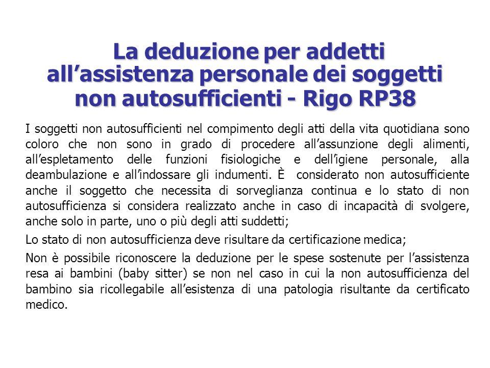 La deduzione per addetti all'assistenza personale dei soggetti non autosufficienti - Rigo RP38 La deduzione per addetti all'assistenza personale dei s