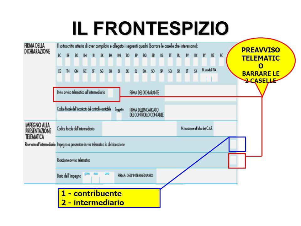 IL FRONTESPIZIO 1 - contribuente 2 - intermediario PREAVVISO TELEMATIC O BARRARE LE 2 CASELLE