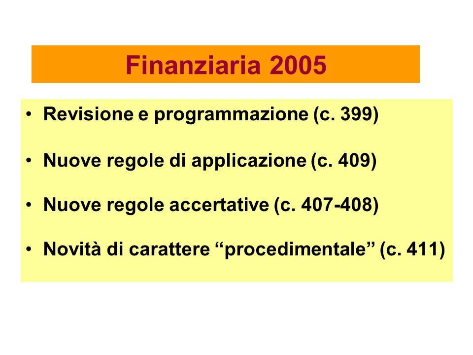 """Finanziaria 2005 Revisione e programmazione (c. 399) Nuove regole di applicazione (c. 409) Nuove regole accertative (c. 407-408) Novità di carattere """""""
