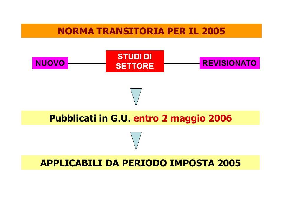NORMA TRANSITORIA PER IL 2005 NUOVO Pubblicati in G.U. entro 2 maggio 2006 STUDI DI SETTORE REVISIONATO APPLICABILI DA PERIODO IMPOSTA 2005