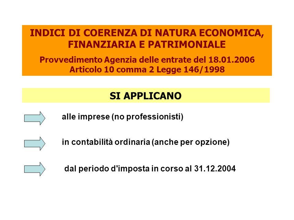INDICI DI COERENZA DI NATURA ECONOMICA, FINANZIARIA E PATRIMONIALE Provvedimento Agenzia delle entrate del 18.01.2006 Articolo 10 comma 2 Legge 146/1998 in contabilità ordinaria (anche per opzione) dal periodo d imposta in corso al 31.12.2004 alle imprese (no professionisti) SI APPLICANO