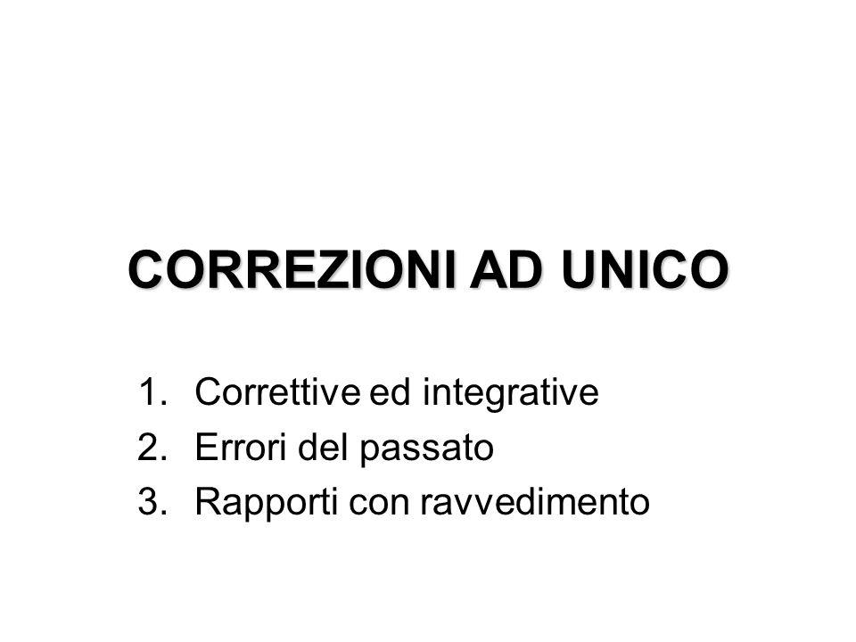 CORREZIONI AD UNICO 1.Correttive ed integrative 2.Errori del passato 3.Rapporti con ravvedimento