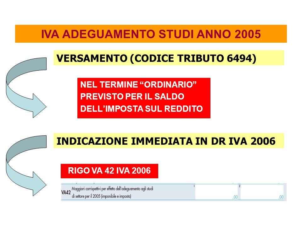 NEL TERMINE ORDINARIO PREVISTO PER IL SALDO DELL'IMPOSTA SUL REDDITO IVA ADEGUAMENTO STUDI ANNO 2005 VERSAMENTO (CODICE TRIBUTO 6494) INDICAZIONE IMMEDIATA IN DR IVA 2006 RIGO VA 42 IVA 2006